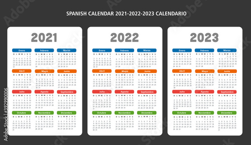 Spanish calendar 2021-2022-2023 vector template
