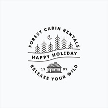 Line Art Vector Of Vintage Log Cabin And Minimalist Moon Above Pine Forest Good For Cabin Rental Company Logo, Sticker And Badge