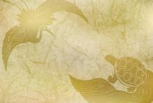 鶴 亀 年賀状 背景
