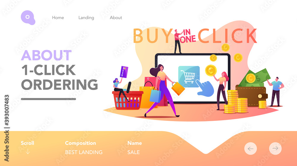 Fototapeta One Click Purchase Shopping Landing Page Template. Tiny Customer Characters with Credit Card Buying Goods Online