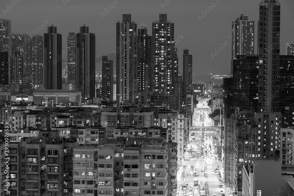 Fototapeta Night scenery of busy street in downtown district of Hong Kong city