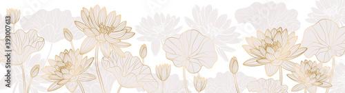 Fotografie, Obraz Luxurious background design with golden lotus