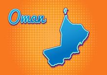 Retro Map Of Oman With Halfton...