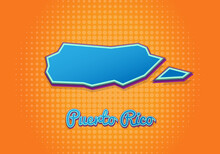 Retro Map Of Puerto Rico With Halftone Background. Cartoon Map Icon In Comic Book And Pop Art Style. Cartography Business Concept. Great For Kids Design,educational Game,magnet Or Poster Design.
