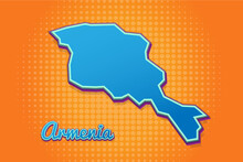 Retro Map Of Armenia With Halftone Background. Cartoon Map Icon In Comic Book And Pop Art Style. Cartography Business Concept. Great For Kids Design,educational Game,magnet Or Poster Design.
