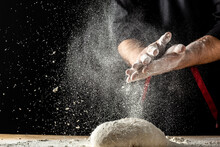 White Flour Flying Into Air As...