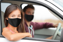 Driver And Asian Passenger Woman Wearing Face Masks Happy Portrait In Car Driving Buying New Car Or Instructor With Driver For Test At Driving School.