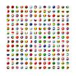 世界の国旗アイコンのセット 球体型