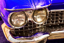 Yalta, Russia, July 2019. Cadillac Deville Coupe 1959. Vintage Car. Beautiful Blu Car