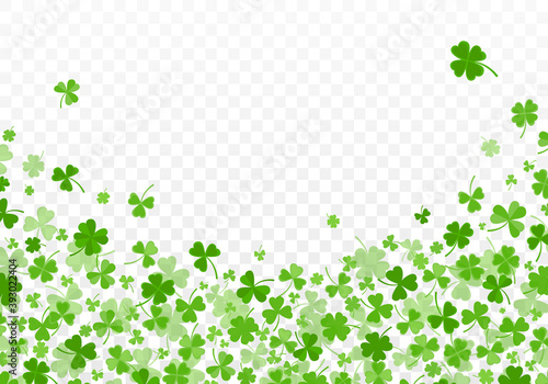 Fototapeta Shamrock or clover leaves flat design green backdrop pattern vector illustration isolated on transparent background