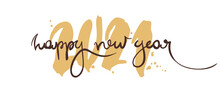 Happy New Year / Handwritten Calligraphy, Congratulations On The Year 2021. Banner, Title.