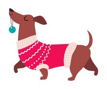 Cute Dog In Red Winter Sweater, Symbol Of Xmas And New Year, Happy Winter Holidays Concept Cartoon Style Vector Illustration