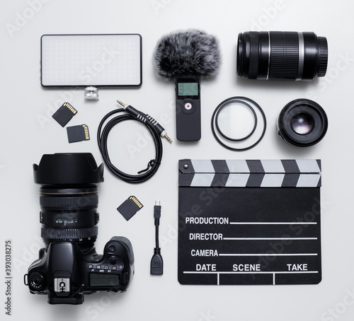 Fotografie, Obraz videography and photography equipment - top view flat lay of modern dslr camera,