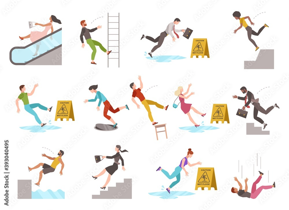 Fototapeta Falling people. People of different ages stumblng and jumping down stairs, slipping wet floor, injury fiasco men and women collection, vector flat cartoon isolated unbalanced characters