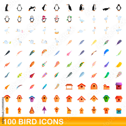 Fototapeta premium 100 bird icons set. Cartoon illustration of 100 bird icons vector set isolated on white background
