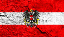 Flag Of Austria Closeup Painted On A Wall