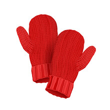 Red Woolen Mittens Isolated On White Background. Vector Illustration