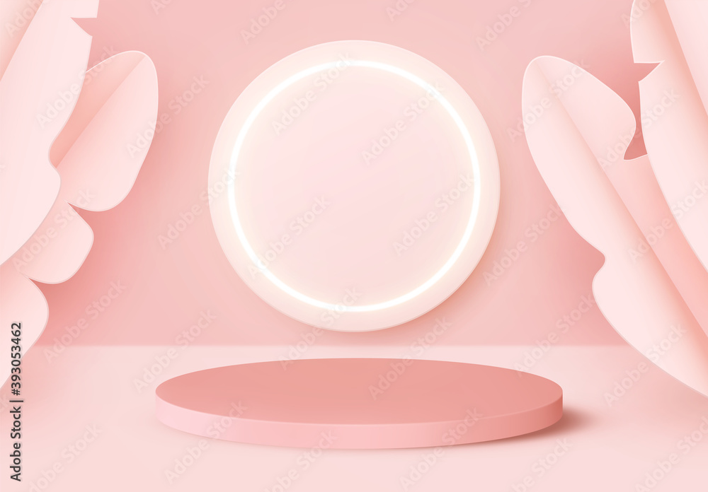 Fototapeta Background presentation mock up with Realistic 3d render podium. Round stage pedestal or platform display. Pink and rose color. Neon circular ring frame empty space for text and design elements