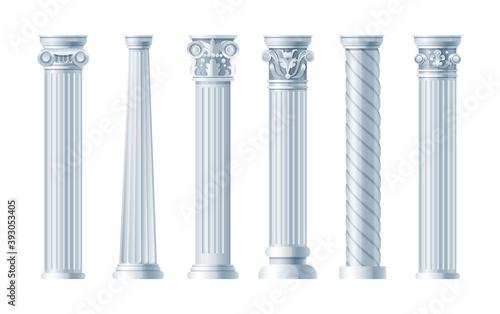 Obraz na plátně Realistic antique pillars set