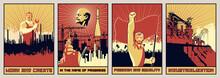 Old Soviet Propaganda Posters Style, Labor, Revolution, Progress