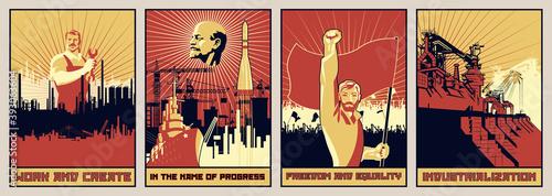 Canvas Print Old Soviet Propaganda Posters Style, Labor, Revolution, Progress
