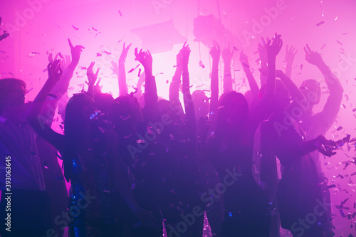 Photo of many girls guys meeting gathering dance floor party rejoice wear trendy stylish outfit modern club indoors