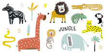 Creative Jungle And African Animals In Children's Style. Set Of Adorable Elephant, Giraffe, Lion, Zebra, Crocodile,monkey, Cheetah, Snake. Vector Illustration.