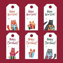 Christmas And New Year Gift Tag Set With Cats And Presents. Collection Of Christmas And New Year Cute Ready-to-use Gift Tags. Color Cute Cartoon Vector Illustration