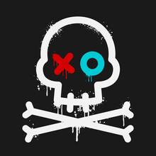 Cartoon Skull With Paint Drips