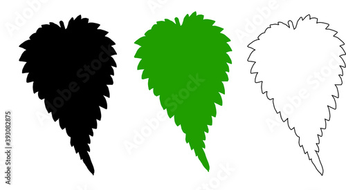 Fotografía The silhouette of a nettle leaf in black and green colors, as well as the black