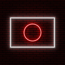Neon Sign In The Form Of A Japanese Flag. Against A Brick Wall With A Shadow. For Registration On Tourist Or Patriotic Themes. White And Red Colors.