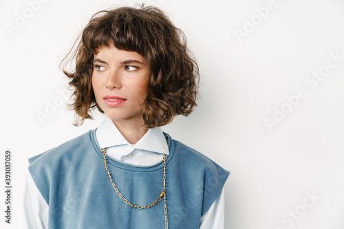 Caucasian beautiful girl posing and looking aside Canvas Print