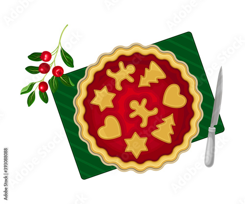 Photo Baked Pie with Crust and Paste Figures or Cookies Rested on Top as Festive Chris