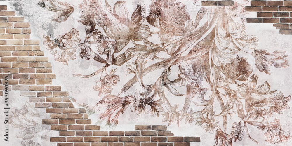 Wall mural, wallpaper design in the loft, classic and modern style. Engraving on the wall. Fresco with flowers on a brick wall.