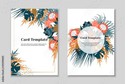 Slika na platnu Set of 2 elegant boho greting card templates, tender pastel colorls, white background