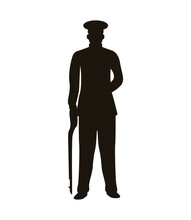 Military Officer With Weapon Silhouette Isolated Icon