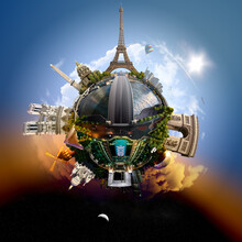 Planet Paris - Miniature Planet Of Paris, France, With All Important Buildings And Attractions Of The City
