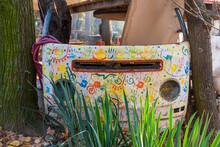 Novi Sad, Serbia - November 15,2020: Old Abandoned Van. Old Dismantled Car In Landfill. Rusted Skeleton Of Antique Car