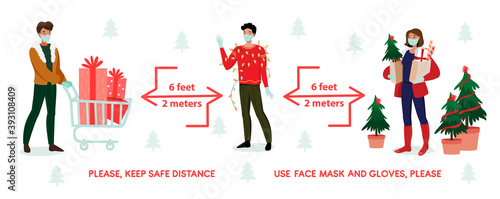 Photo Social Distancing Coronavirus Covid-19 protection prevention rules banner with Christmas info graphics content
