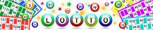 Bannière Avec Boules Et Cartes De Lotto Multicolores Sur Fond Blanc
