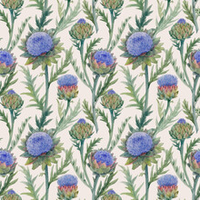 Beautiful Vector Seamless Floral Pattern With Watercolor Gentle Blue Blooming Artichoke Flowers. Stock Illustration.