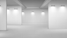 Art Gallery Empty Interior, 3d Room With White Walls, Floor And Illumination Lamps. Museum Passages With Lights For Pictures Presentation, Photography Contest Exhibition Hall, Realistic Vector Mock Up