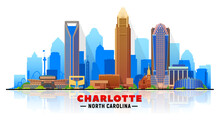 Charlotte ( North Carolina ) Skyline With Silhouette At White Background. Vector Illustration. Business Travel And Tourism Concept With Modern Buildings.