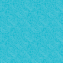 Seamless Abstract Doodle Ocean Pattern With Hand Painted Irregular Line Art Swirl In Wavy Movement. Graphic And Modern Design For Beach Wear, Bath Utensil, Fashion And Packaging Design.