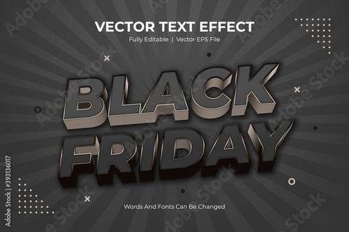Fototapeta Black friday editable text style effect, 3d layered black friday text effect or font effect design obraz