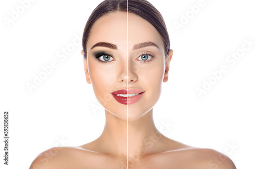 Obraz Before and after remove makeup. Woman face with makeup and without on white background - fototapety do salonu