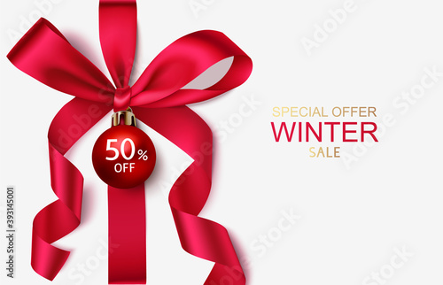 Fototapeta New year winter sale design template. Decorative red bow with Christmas ball and price tag isolated on white. Vector stock illustration. obraz