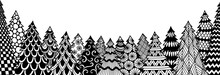 Line Art Of Christmas Tree Isolated On White Background For Coloring Book, Coloring Page Or Print On Stuffs. Vector Illustration.