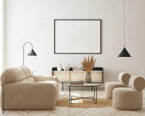 Fotografía mock up poster frame in modern interior background, living room, Scandinavian st