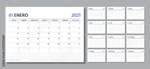 Obraz Spanish planner for 2021 year. Calendar template. Week starts Monday. Vector. Table schedule grid. Calender layout with 12 month. Yearly stationery organizer. Horizontal monthly diary. Illustration. - fototapety do salonu